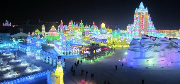 I monumenti di ghiaccio ad Harbin